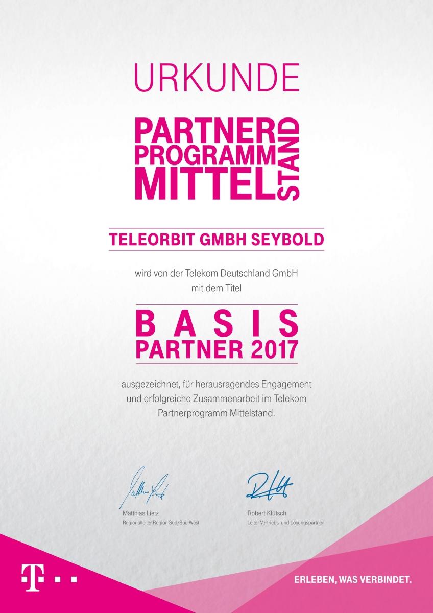 Partnerurkunde 2017